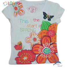 Camiseta de niña LOSAN manga corta flor y mariposa