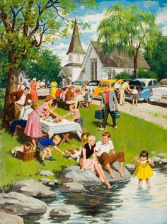Vintage Illustrations View A Church Picnic By Arthur Sarnoff; Gouache on board; Access more artwork lots and estimated Vintage Pictures, Old Pictures, Vintage Images, Pin Ups Vintage, Vintage Ads, Church Picnic, Vintage Housewife, Arte Pop, The Good Old Days