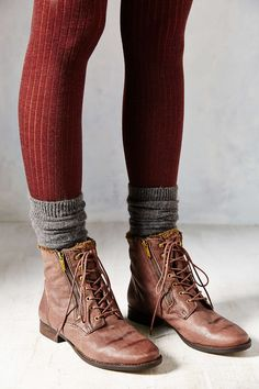 Love the tights and the socks combined. Don't love those specific boots though
