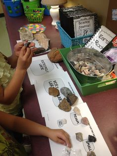 Recognize that Earth is made up of rocks. Rocks come in many sizes and shapes. Great Rock centers to help make studying rocks understandable for young learners! First Grade Science, Primary Science, Elementary Science, Science For Kids, Science Fun, Kindergarten Science, Science Classroom, Teaching Science, Classroom Activities
