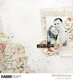 'Love Story' layout by Julia Akinina Design Team member for katsercraft using their 'P.S. I Love You' collection. Saved from kaisercraft.com.au/blog/ - Wendy Schultz - Scrapbook Layouts.