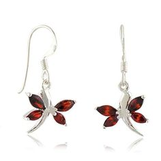 January Birthstone Gifts - Garnet - 925 Sterling Silver Red Natural Garnet Gemstone Dragonfly Dangle Hook Earrings for Women