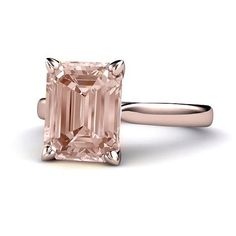 14K Morganite Ring Large Emerald Cut Morganite Solitaire Engagement Ring 14K White Yellow Rose Gold
