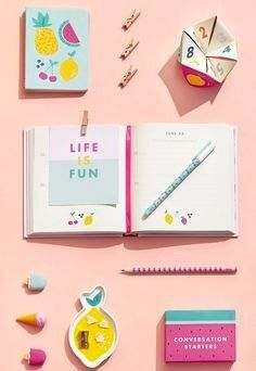 Make your stationery oh so cute with bright and fun notebooks, pens, fruit dishes and Cute Stationery, Stationery Design, Fun Conversation Starters, Illustrator, Swedish Design, Bookbinding, School Supplies, Office Supplies, Paper Goods
