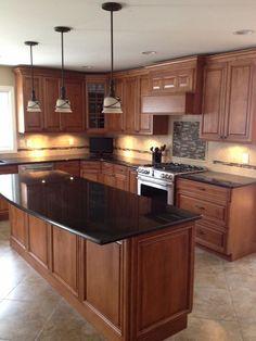contemporary kitchen countertop ideas wood cabinets black pearl granite countertops-pendant-lamps: