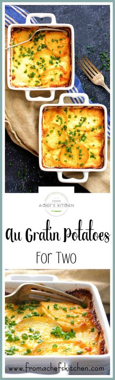 Au Gratin Potatoes for Two is a wonderful easy side dish to pair with anything you choose to make at home for your intimate dinner for two! via @chefcarolb