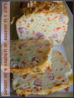Cake multicolore à la julienne de légumes & au jambon  #recette #cake #légumes #facile