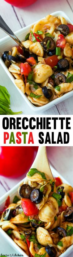 Healthy Orecchiette Pasta Salad with Basil, Olives and Tomatoes. This is one of my favorite salads to bring to Summer cookouts! Vegan.