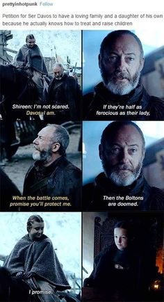 Game of Thrones - Davos Seaworth. Well in the books he does have a wife and five kids. Too bad that four of them die during the battle at King's Landing. Got Game Of Thrones, Game Of Thrones Funny, Valar Dohaeris, Valar Morghulis, Winter Is Here, Winter Is Coming, Lyanna Mormont, Lady Mormont, Games