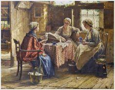 Edward Antoon Portielje (Belgian 1861-1949) «Working the lace»