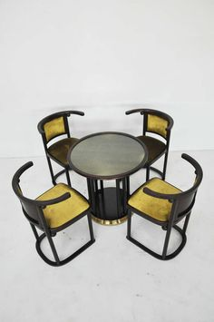 View this item and discover similar for sale at - 'Fledermaus' Table with four chairs by Josef Hoffmann for Wittmann. Specifically designed in Vienna for the Fledermaus cabaret in Vienna.