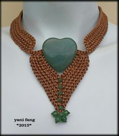 Copper macrame necklace made by Yani Fang
