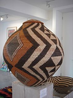Exhibition of baskets from Botswana at the Rebecca Hossack Art Gallery, London .Basketry Art #Basketry Art #Art #Basket #Wicker Basket #Craft