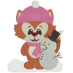 Winter Fox with Snowman Filled Machine Embroidery Digitized Design Pattern