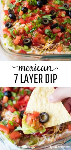 7 Layer Dip Recipe - Layers of salsa guacamole sour cream beans cheese pico de gallo and olives. The perfect appetizer for game day or a friends get-together. People will gather around this layered taco dip until its gone! Appetizer Dips, Appetizer Recipes, Mexican Appetizers Easy, Layered Bean Dip, Mexican Layered Dips, 7 Layer Mexican Dip, 7 Layer Taco Dip, Mexican Easy, Mexican Dips