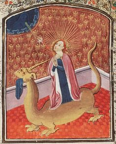 Margaret of Antioch (Margaret the Virgin-Martyr). She was said to have been swallowed by Satan, who had adopted the form of a dragon; she then forced the dragon to regurgitate her by irritating. Dragon Medieval, Medieval Art, Medieval Manuscript, Illuminated Manuscript, Illuminated Letters, Ste Marguerite, Renaissance, Dragons, St Margaret