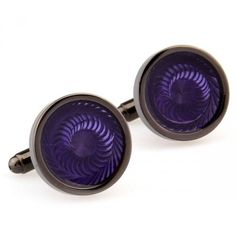 Share this with your friends and receive a 5% copon.Click here to wirte your message. purple enamel round black cufflinks