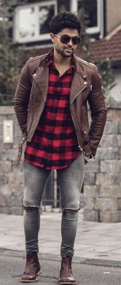 fall combo inspiration with a brown leather zipper jacket red buffalo plaid flannel gray skinny ripped jeans brown leather boots sunglasses. Fall Outfits For Teen Girls, Fall Outfits 2018, Skinny Jeans With Boots, Ripped Jeans, Leather Boots, Brown Leather, Leather Jacket, Red Button Down Shirt, Puffy Jacket