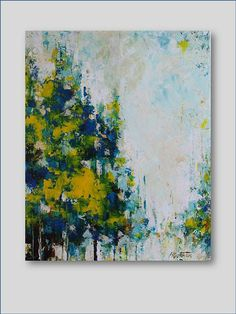 Original Acrylic Painting- Blue Forest- Abstract- Modern, Contemporary 16x20 GREAT GIFT