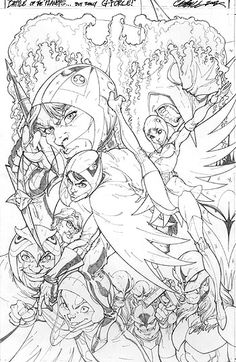 Battle of the Planets Cover, in Chris Williamson's Campbell, J Scott Comic Art Gallery Room J. Scott Campbell, Scott Cambell, Class Comics, Character Art, Character Design, Battle Of The Planets, Comic Art Community, Comic Kunst, Black And White Drawing