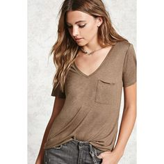 Forever21 Slub Knit V-Neck Tee ($9.90) ❤ liked on Polyvore featuring tops, t-shirts, dark olive, v neck t shirts, relaxed fit t shirt, v neck tee, brown tee and knit tee