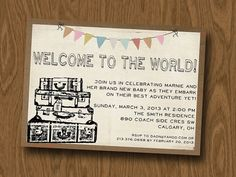 BABY Shower DIY 5x7 Printable invite - Vintage or Travel or New Adventure Theme on Etsy, $14.00