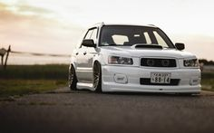 Обои tuning, japan, low, face, white, sti, forester, front, subaru, turbo, stance, jdm