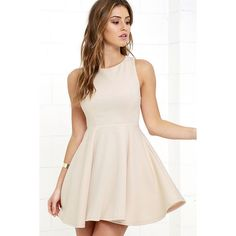 Gal About Town Beige Skater Dress ($49) ❤ liked on Polyvore featuring dresses, beige, princess seam dress, pink circle skirt, pink skater skirt, beige skater skirt and beige dress