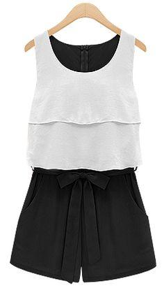 Black and White Sleevelss Ruffle Bow Waist Chiffon Jumpsuit 24.17