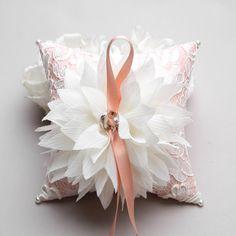 Ring Pillow - Wedding ring pillow, Flower ring pillow, bridal ring bearer pillow - Lydia