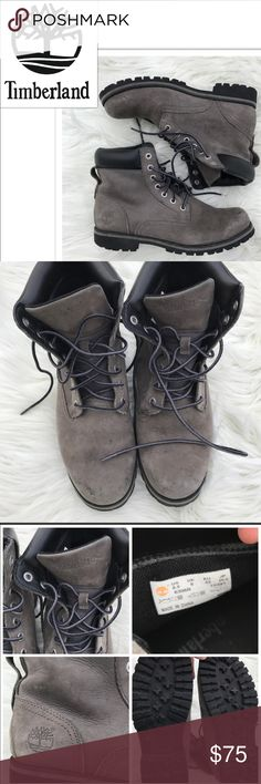 AWESOME Gray Timberlands Gray Timberland boots. Leather. Men's size 8.5 = 10 in women's. some minor wear to toes (shown.) ✨Open to offers ✨ 20% discount on bundles Timberland Shoes