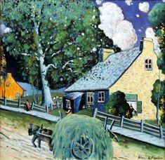 Marc-Aurèle Fortin (Canadian, 1888 - Rue de village Ste-Rose (c. Canadian Painters, Canadian Artists, Art Gallery, Mediums Of Art, Z Arts, Old Paintings, Naive Art, Art For Art Sake, Sculpture