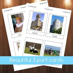 Montessori Knights and castles 3 part cards by jojoebi on Etsyget yours at: http://www.etsy.com/listing/179148339/montessori-knights-and-castles-3-part #montessori $5