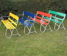 Rainbow coloured garden benches