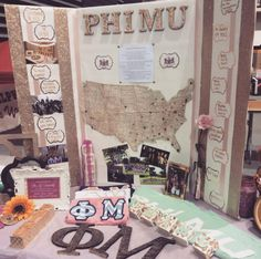 Sorority tabling: making use of space and display where members are from Delta Phi Epsilon, Phi Sigma Sigma, Alpha Sigma Alpha, Phi Mu, Delta Zeta, Tri Delta, Sorority Recruitment Decorations, Sorority Crafts, Sorority Rush
