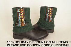 Aztec boho boot cuffs-Boho boot covers -Gypsy boot cuffs-70' clothing-Hippie boot cuffs-Boot socks-Fringe boot cuffs-Boot cover-Ethnic cuffs