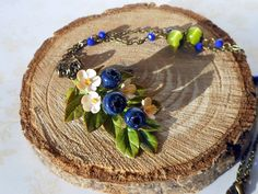 Necklace Blueberries branch handmade of polymer clay / Pendant Blueberry / Necklace wild berries / forest berry / Gift for her by KsuhaJewelryFlowers on Etsy