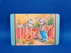 Vintage Coles Swap Card - Easter Bunnies and chicks  SOLD $17.00