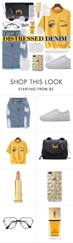 """Shein #2"" by tasnime-ben ❤ liked on Polyvore featuring WithChic, Kevyn Aucoin, Anja, Yves Saint Laurent and Sheinside"