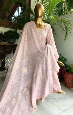 Live in possibility...  Dusty pink chanderi cotton kurta with self motifs teamed with cutwork palazzo and a pure georgette dupatta with chikenkari embroidery..  Available exclusively at  A 999 Sushant Lok 1  Gurgaon  #9818310054