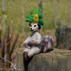 My brother asked me to make him a King Julien. I balked! No way that would happen! He happened, and I am pretty proud. Lemur, Panda Bear, Needle Felting, Brother, King, Animals, Animales, Animaux, Panda