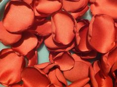 100 Coral Wedding Fabric Flower Petals by mlmissal on Etsy, $15.00