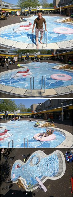 Leon Keer 3D pool chalk street art