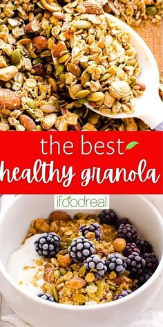 This Healthy Granola combines rolled oats, dried fruits, seeds, nuts, spices, and natural sweeteners. Loaded with flavour, this easy and delicious grab-n-go snack is a must-try! Easy Granola Recipe Healthy, Healthy Meal Prep, Healthy Recipes, Silicone Baking Sheet, Deliciously Ella, Snacks For Work, Meal Prep For The Week, Recipe Please