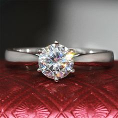 Find More Rings Information about 1 Carat ct F Color Engagement Wedding Lab Grown Moissanite Diamond Ring 3MM Wide Solid 14K 585 White Gold For Women,High Quality Rings from  CPP  sLowgUs'hop on Aliexpress.com