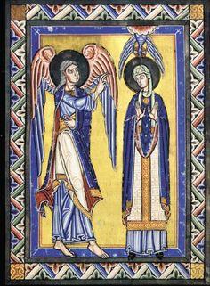 Annunciation, 12thc Wurttembergische Landesbibliothek