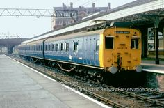 A Manchester - Altrincham class 505 Emu built in 1929 by the LMS when this line was electrified at 1'500volts dc. These trains ran for over 40 years, not being withdrawn until the early 1970s when the line was converted to 25kv ac, long enough for them to receive BR blue livery with full yellow end, as seen here in 1968. Image from Google.