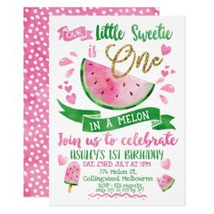 Pink One In A Melon Themed 1st Birthday Invitation Unique Invitations, Pink Invitations, Printable Invitations, Baby Shower Invitations, Invitation Cards, Invitation Templates, Invites, 1st Birthday Invitations Girl, 1st Birthday Girls