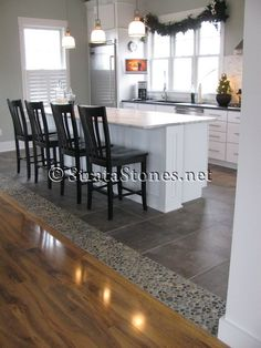Awesome Dark Ideas Ocean Pebble Tile Kitchen Floor Accent Image Id 15151