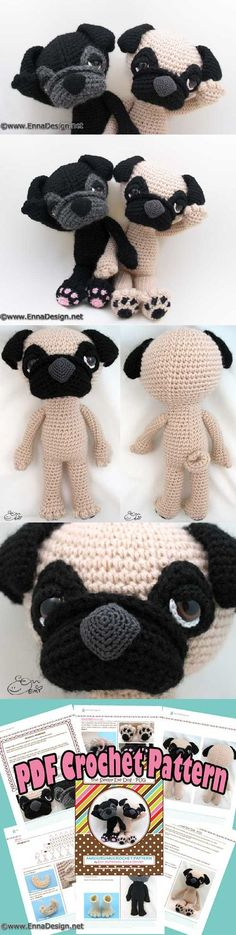 Sleepy-eyed pug amigurumi pattern by Emi Kanesada (Enna Design)